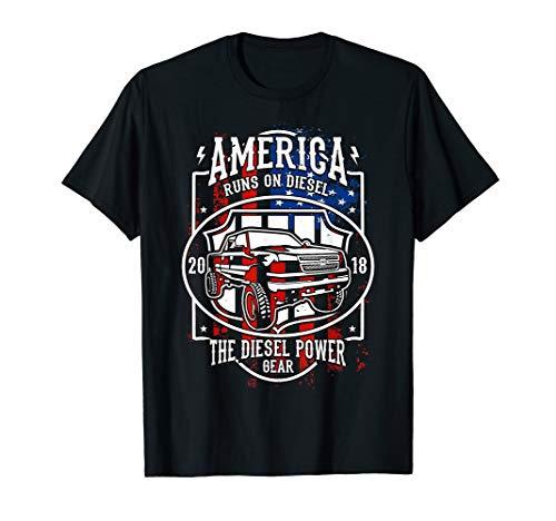 Diesel Power USA Flag Tshirt Truck 4X4 Power Offroad Fuel