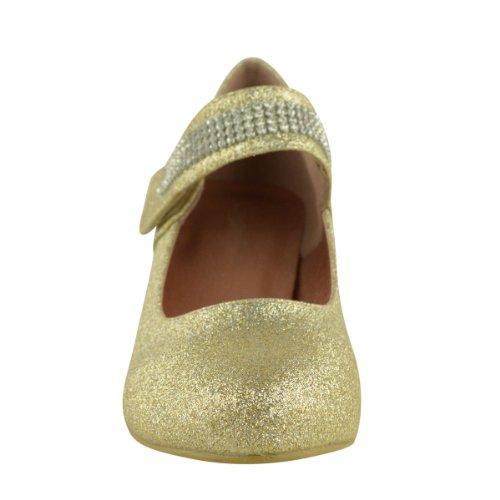 Mode Soif De Mariage Des Femmes Diamante De Bal Bas Mi-haut Talon Chaussures De Cour Nuptiale Chaussures Taille Or Paillettes
