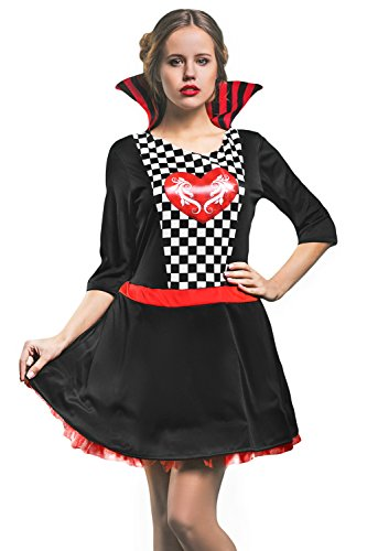 Adult Women Hearts Queen Costume Cosplay Role Play Wonderland Mistress Dress Up (Small/Medium, Black, Red, (Sexy Monarch Fairy Costumes)