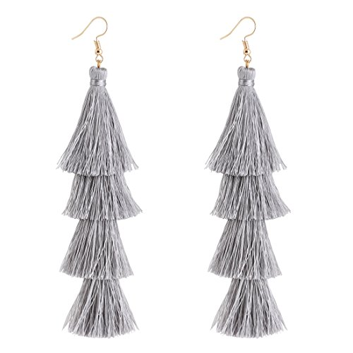 ELEARD-Tassel-Earrings-Tiered-Thread-Tassel-Dangle-Earrings-Statement-Layered-Tassel-Drop-Earrings