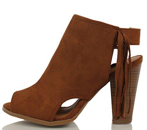 Delicious Women's Polite Peep Toe Faux Suede Fringe Tassel Stacked Heels Ankle Boot