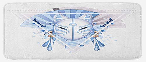 "Ambesonne Kabuki Mask Kitchen Mat, Fox Form Kitsune Japan Culture Theme Triangle Sakura Flowers, Plush Decorative Kitchen Mat with Non Slip Backing, 47"" X 19"", Pale Blue White Beige"