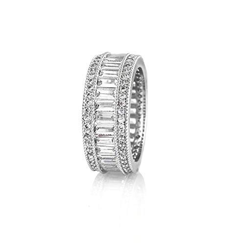 Verona Jewelers Womens White Gold Plated Lustrous Eternity Band- Beautifully Crafted Eternity Ring with Emerald Cut Cubic Zirconia Stones (7) ()