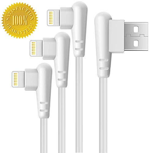 Boost Right Angle Charger 6FT Cord 90 Degree Fast Data Cable Compatible for iPhone X Case/8/8 Plus/7/7 Plus/6/6s Plus,iPad Mini Case (White) 2M, 3-Pack ()