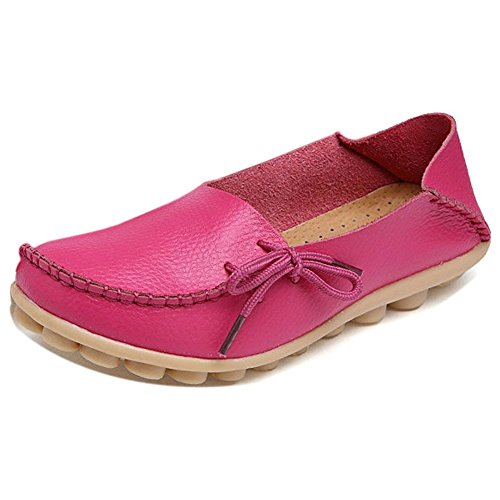 (LONSOEN Women Moccasin Driving Shoes Casual Solid Leather Loafer and Slip On Boat Flats Hot Pink SHC600 CN39)