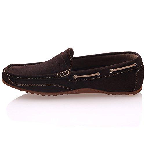 Unze Mocasines de gamuza de cuero Slipon Zapatos Hombres Dorin  Marrón