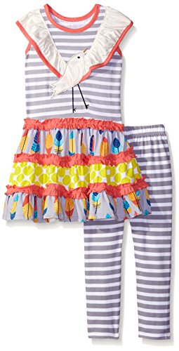 Jelly The Pug Little Girls' Bird N Feather Knit Set, Multi, -