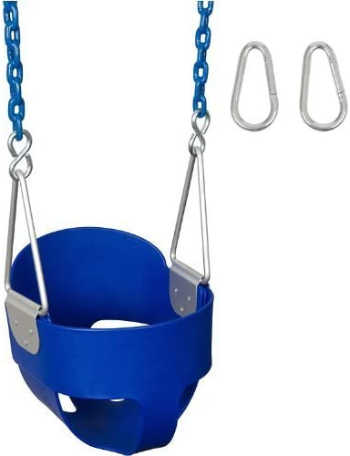 Swing Set Stuff Highback Full Bucket with 8.5 Coated Chain /& SSS Logo Sticker Blue