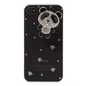 GJY sold out Fashion Rhinestones 3D Cute Panda Design Transparent PC Hard Back Case Cover for iPhone 4/4S