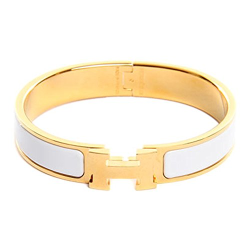 Z.RACLE 12MM H Buckle Bangle Bracelets for Women (Mens White Gold Bangle)