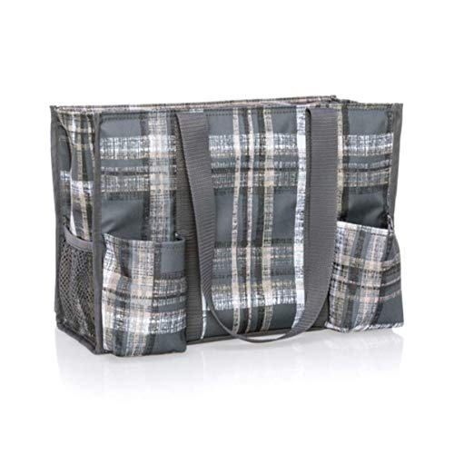 Thirty One Zip Top Organizing Utility Tote (4451) in Cozy Plaid
