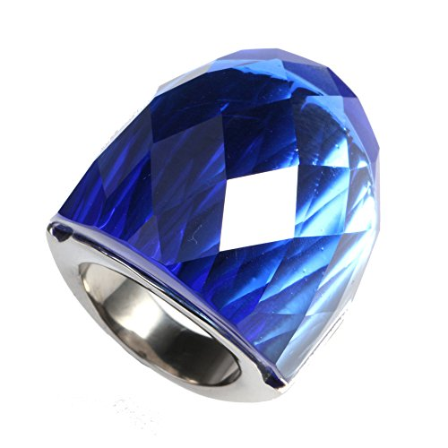 Oakky Women's Stainless Steel Simple Big Shiny Gemstone Wide Wedding Band Ring Silver Dark Blue Size 6 by Oakky