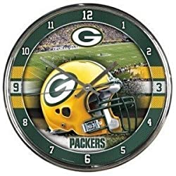 Green Bay Packers Round Chrome Wall Clock by Hall of Fame Memorabilia