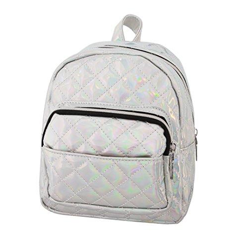 Holographic Small Satchel Knapsack Candice Silver 717 Shoulder PU Leather Hologram Women Backpack Bag 8ngxqEC
