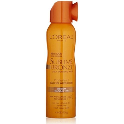 Salon Airbrush - L'oreal Paris Sublime Bronze Properfect Salon Airbrush Self-tanning Mist, Medium Natural Tan, 4.6 Ounce
