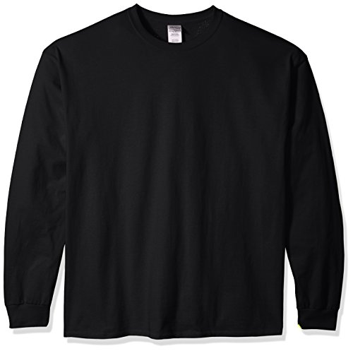 otton Jersey Long Sleeve Tee Extended Sizes, Black, XX-Large ()