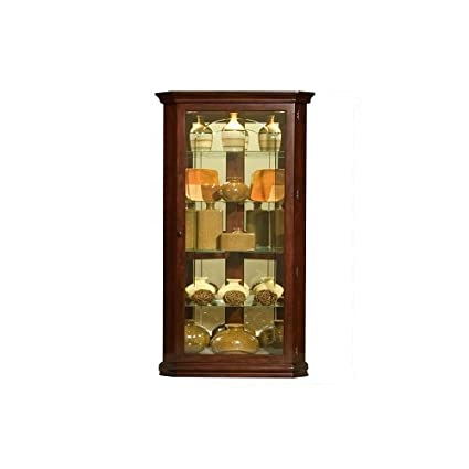 Pulaski Corner Curio, 28 By 16 By 72 Inch, Brown