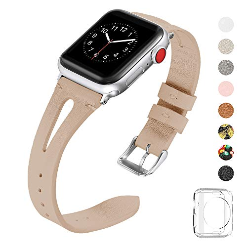 WFEAGL Top Grain Leather Bands Compatible with iWatch 38mm 40mm 42mm 44mm, Slim Wristband Band with Fashionable Breathable Hole for iWatch Series 4,Series 3,Series 2,Series 1 (Nude/Silver, 38mm 40mm)