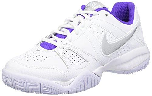Nike Jungen City Court 7 GS Trainingsschuhe Blanco / Plateado / Morado (White / Metallic Silver-Hypr Grp)