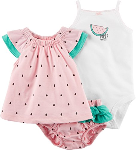 Carter's Baby Girls' 3 Piece Watermelon Bodysuit and Diaper Cover Set 9 (Smocked Cover)
