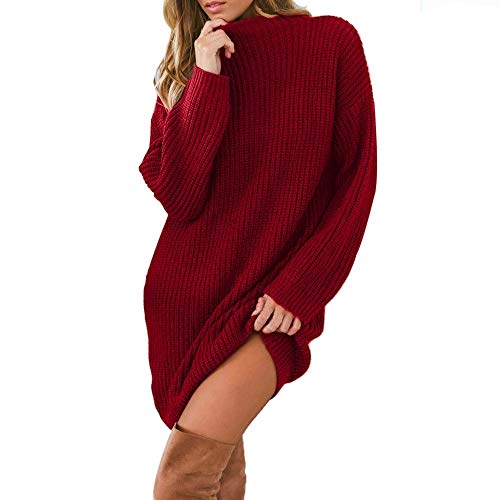 Sweater Sleeve Belted Maternity (UOFOCO Loose Sweater Pullover Women's Knitted Dress Round Neck Long Sleeve Mini Dress)