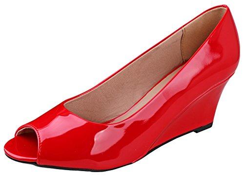 Forever Link Women's Peep Toe Slip on Wedge Pump Red 7.5