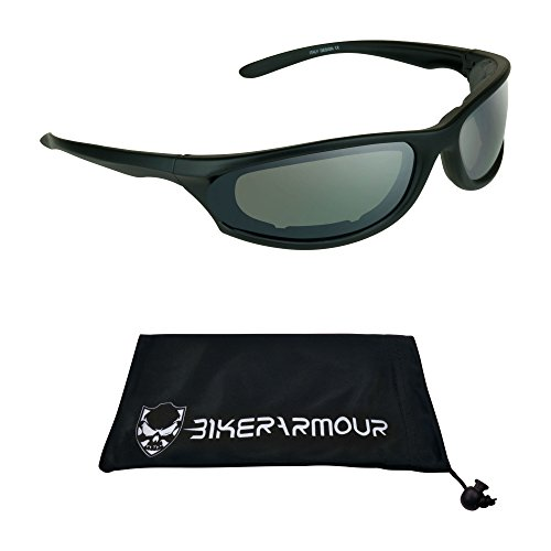 Motorcycle Riding Glasses Foam Padded for Men and Women with Safety Polycarbonate Smoke Lenses. Free Microfiber Cleaning Case Throttle