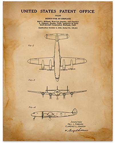 (Lockheed Constellation Wall Art Circa 1942-11 x 14 Unframed Patent Print - Great Gift for the Pilot In Your Life)