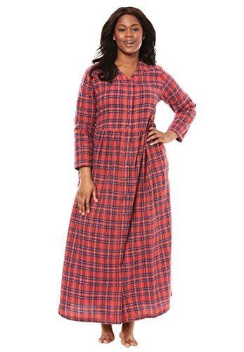 Plaid Flannel Lounger (Only Necessities Women's Plus Size Flannel Plaid Lounger Multi Red Plaid,1X)