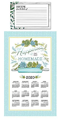 Kitchen 2020 Garden Succulents Calendar Towel Bundle with Vintage Kitchen Recipe Cards