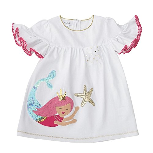 Jersey Ruffle Sleeve Dress (Mud Pie Baby Girls Mermaid Ruffle Sleeve Casual Play Dress, White, 6-9 Months)