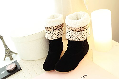 Winter Autumn boots snow princess stylish high casual knee shoes boots sweet women Black01 shoes flat AOd7rOZ