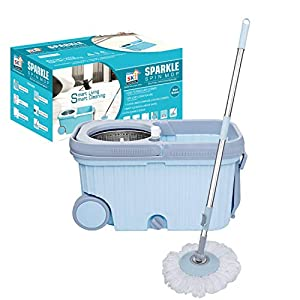 SKI Sparkle Spin Steel Mop with Wheels and 2 Microfiber Refills (Size : 48.50 x 27.5 x 27 cm) Ice Blue