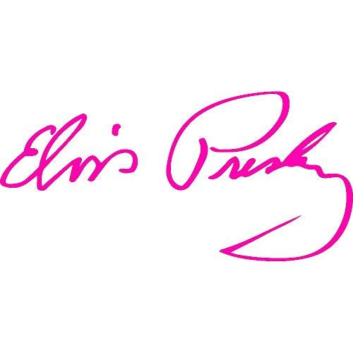 Elvis Signature Glasses - ANGDEST Signature Elvis Elvis Presley (Pink) (Set of 2) Premium Waterproof Vinyl Decal Stickers for Laptop Phone Accessory Helmet Car Window Bumper Mug Tuber Cup Door Wall Decoration