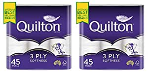 Quilton 3 Ply Toilet Tissue (180 Sheets per Roll, 11x10cm), Pack of 45 … (2 Pack)