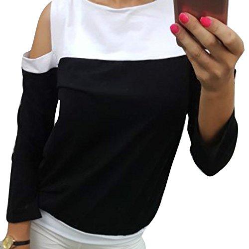Damen Langarm Bluse, Sexy Schulterfrei Patchwork Hemden Mode Einfarbig  Casual T-Shirt Frühling Herbst 2807a83d20