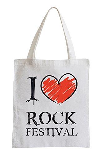 Amo festival rock Fun sacchetto di iuta