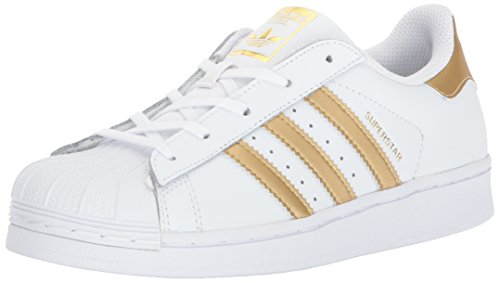 (adidas Originals Superstar Running Shoe, White/Gold/Blue, 1 Medium US Little)