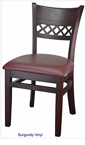 Lattice Back Beech Wood Chair Upholstered Cushion Fully Assembled Frame for Restaurants & Homes (BURGUNDY)