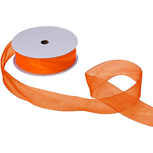 Jillson Roberts Bulk 1-1/2-Inch Sheer Ribbon Available in 16 Colors, Orange, 100 Yard Spool (BFR3227)
