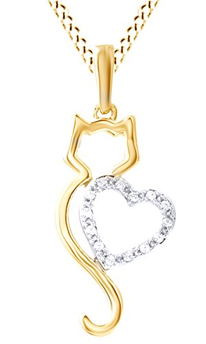 [White Natural Diamond Cat Silhouette with Heart Pendant Necklace In 10k Yellow Gold (0.5 Carat)] (Gold Diamond Cat Pendant)