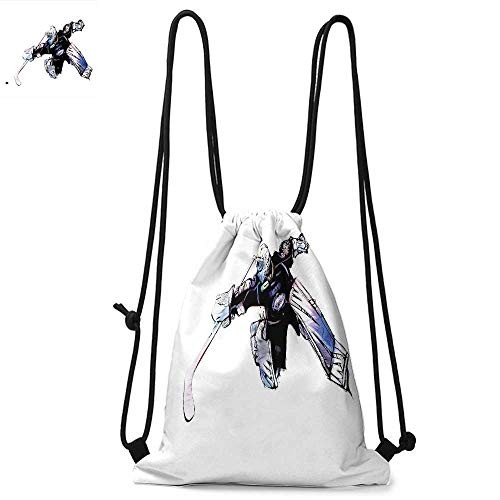 Hockey Durable Drawstring Backpack Goalkeeper in Hand Drawn Style with Protective Gear in a Competitive GameSuitable for carrying around W17.3 x L13.4 Inch Purple Black White