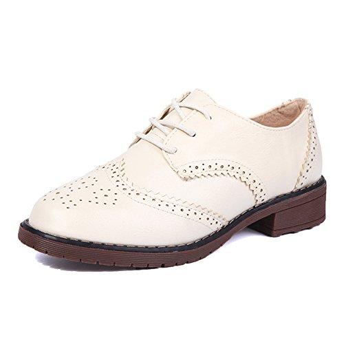 Scarpe Oxford Con Tacco Medio Da Donna, Scarpe Stringate Piatte Intagliate Beige Stile British