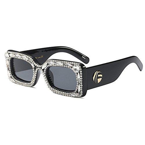 de de de Sol Las de Sol Gafas Color la Lujo cuadradas para Ultravioleta Conducción Protección Cristal de Negro del Gafas de Mujeres qExPB