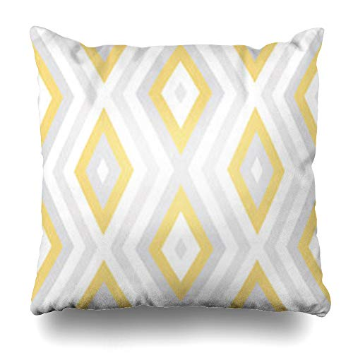 HomeOutlet Throw Pillow Cover Style Abstract Geometric Pattern Pastel Yellow Gray White Diagonal Chaotic Zig Zag Stripes Lines Pillowcase Square Size 20 x 20 Inches Home Decor Sofa Cushion Case