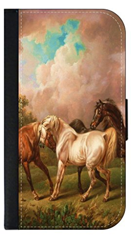Painting of Three Horses (Charles Towne)-TM Samsung Galaxy S7 EDGE Leather and Suede-Look Wallet Style Phone Case Made in the USA