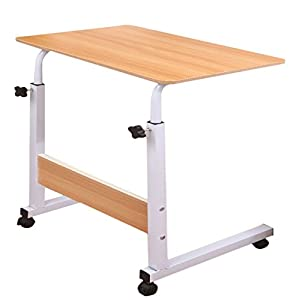 Raumeyun Adjustable Height Computer Cart Mobile Laptop Desk Stand Laptop Table On Wheels for Bed and Sofa,Color: Woodgrain