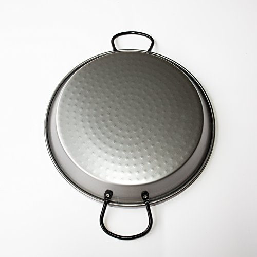 Polished Steel Valencian paella pan 12 Inch (30cm) 4 Servings by Castevia Imports (Image #1)
