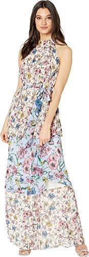 Juicy Couture Women's SW Floral Print Mix Pleated Maxi Dress Eggshell/Sweat Cornflower 12 -