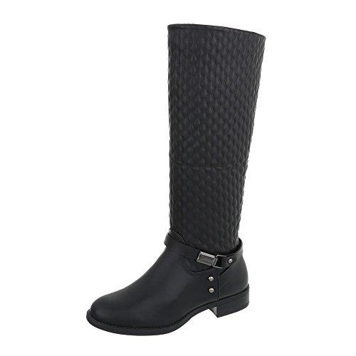 Ital-Design Klassische Stiefel Damenschuhe Klassische Stiefel Blockabsatz Blockabsatz Reißverschluss Stiefel Schwarz A-5-1